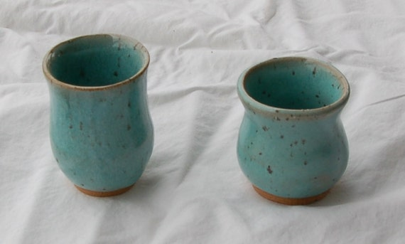 2 Tiny Vases or Tooth Pick Holders in Turquoise Speckles from Pottery by Saleek