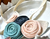 Large Felt Flower Necklace in Peach, Turquoise, and Navy