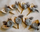 Set of 8 Felt Rose Boutonnieres - Custom colors available