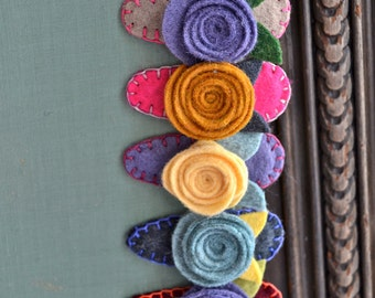 Felt Flower Rose Hair Barrette - Custom Colors