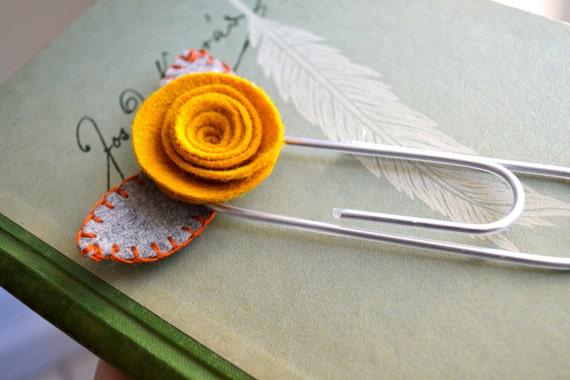 Felt Rose Bookmark in Gold, Grey, and Orange