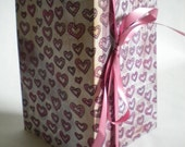 Large Handmade Illustrated Pink Valentine Hearts Journal with Ribbon