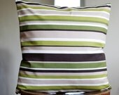 Pillow case green stripes - decorative covers - throw pillows - shams - 18x18