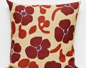 Fall decor - brown floral print pillow cover for autumn home decor - throw - pillows case 16x16 inches
