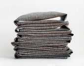 Linen napkin set of 8 - cloth napkins. Plaid fabric. 17x17