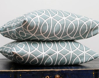 Dwell pillow covers - aquamarine dwell pillows - turquoise cushion covers- set of 2 - 16x16 0300
