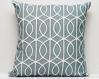 Decorative Dwell studio pillow cover - gate print - turquoise throw pillows - linen 18x18