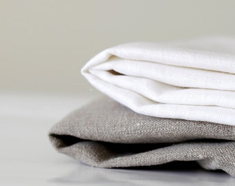Table cloth napkins linen - dinner napkin - white and gray  set of 8 - 18x18   0238