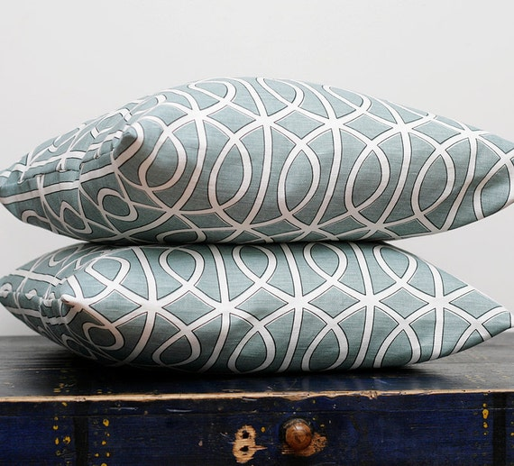 Designer pillow covers - dwell pillows - turquoise case- set of 2 - 20x20