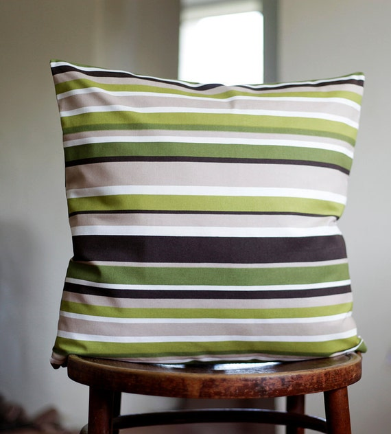 Pillow case green stripes - decorative covers - throw pillows - shams - 18x18