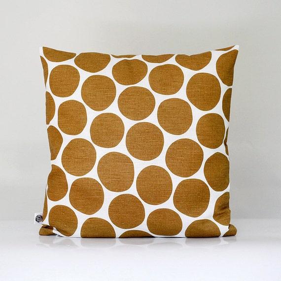 Linen pillow cover - decorative covers - sham - throw pillows - brown pom pom - 18x18