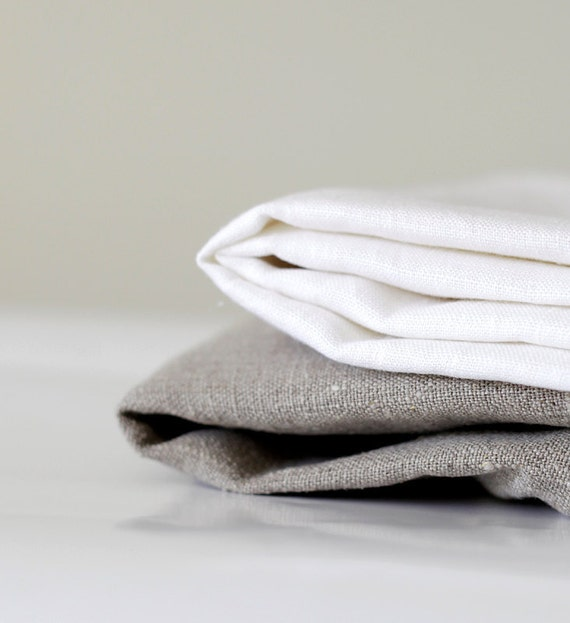Table cloth napkins linen - dinner napkin - white and gray  set of 8 - 18x18   0238