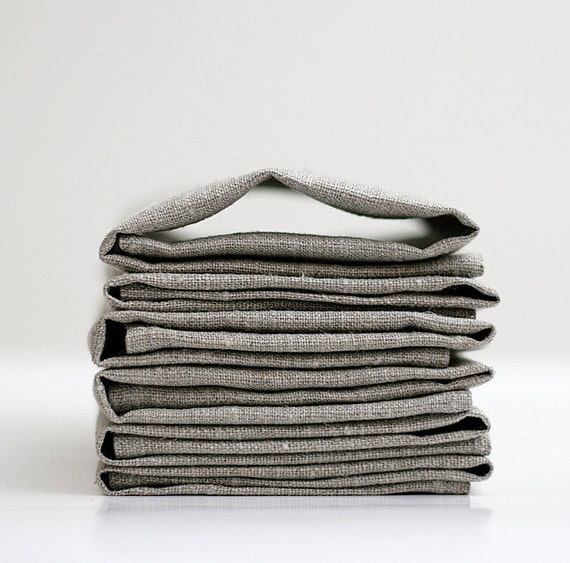 Linen napkin set of 6 - grey - 12x12 inch size, cloth napkins, wedding table linens, wedding napkins, cocktail napkins   0241