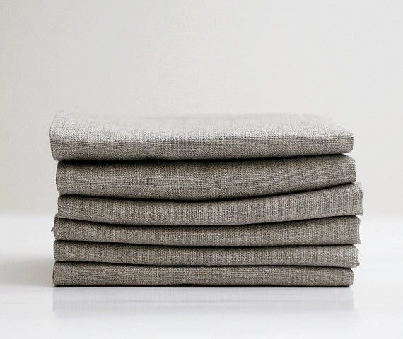 Linen napkin set of 12 - grey cloth napkins -  18x18 inch size   0364