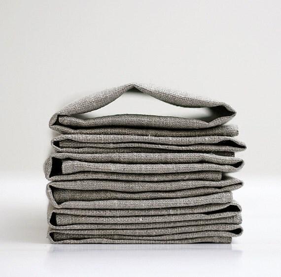 Linen napkin set of 12 - natural linen - 12x12 inch size   0233
