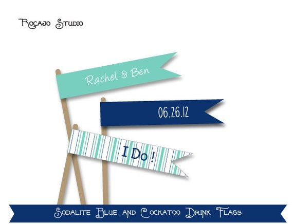Wedding Flags / Stir Sticks (12) - personalized PRINTABLE pdf file - Sodalite Blue and Cockatoo - Beach stripes