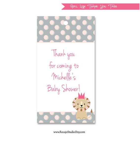 baby shower thank you tags gift tags girl little lion pink and