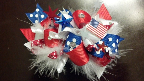 4th of July Funky Loopy Patriotic Hair Bow with Feathers by Ideal Bows