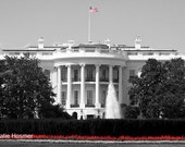 The White House, Washington, DC (black, white, and red) - 5x7 Matted Photograph