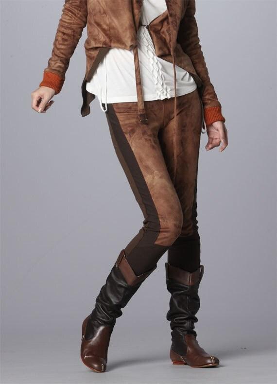 Unisex Brown Velvet Skinny Cigarette Contrast Low Rise Trousers
