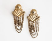 Oversized Gold Color Metal Chained Earrings