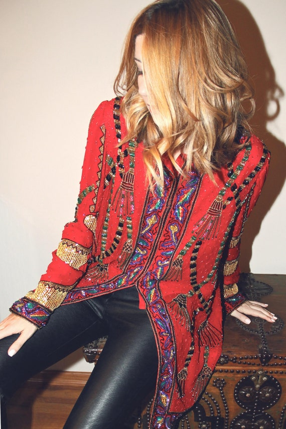 Red Beaded Jacket with Multicolor Beaded Design