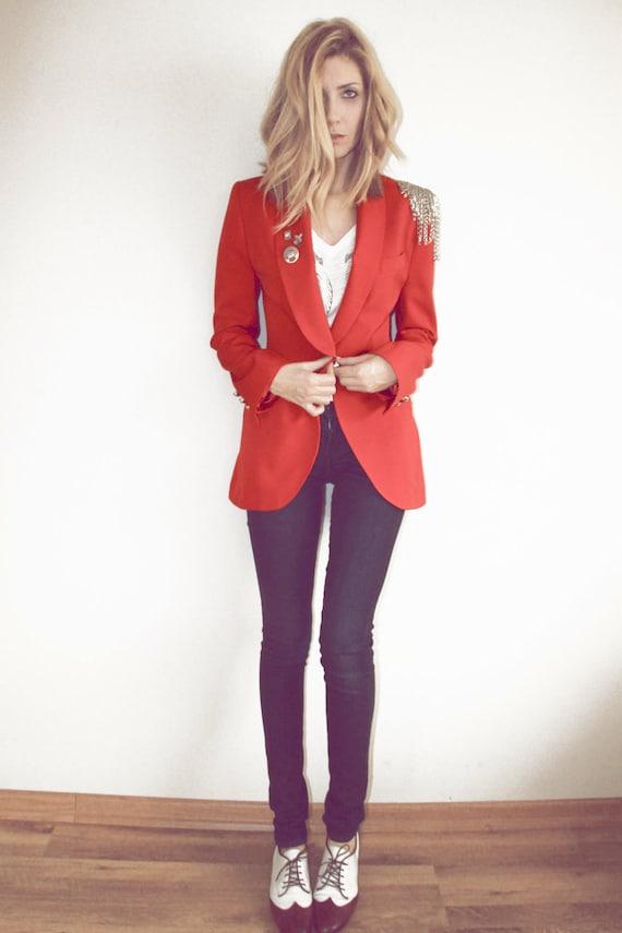 Slim Fit Red Vintage Blazer Jacket