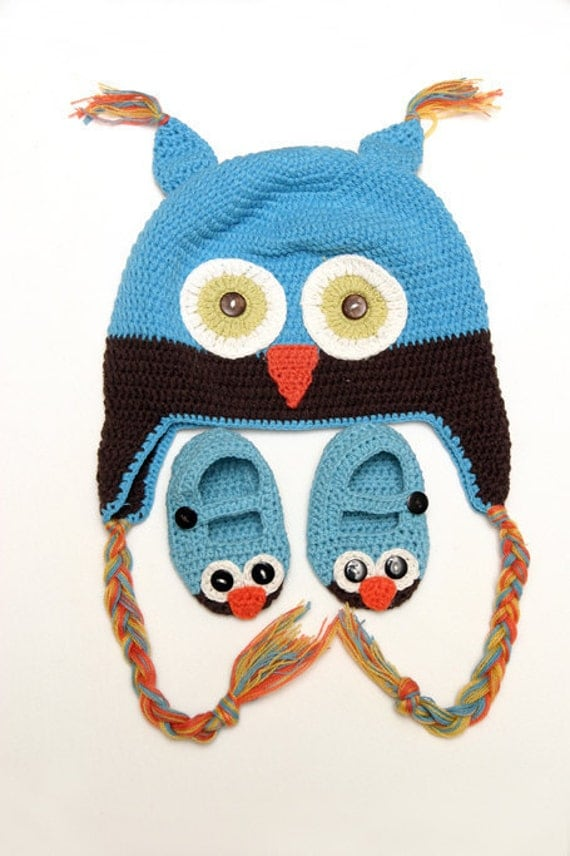 Baby Owl Hat and Shoes set-Crocheted Handmade