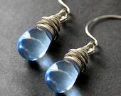 Wire Wrapped Earrings - Sky Blue Clear Teardrop Earrings in Silver. Handmade Jewelry.