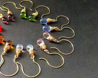 Seven Pair of Earrings for the Price of Six - Wire Wrapped Drop Earrings in Gold. Dangle Earrings. Handmade Jewelry.