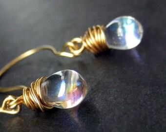 14K GOLD Earrings - Wire Wrapped Earrings - Iridescent Clear Teardrop Earrings. Handmade Jewelry.