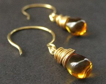 Wire Wrapped Earrings - Honey Amber Teardrops in Gold. Handmade Jewelry.