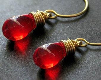 Teardrop Earrings: Wire Wrapped Blood Red Earrings in Gold. Handmade Jewelry.
