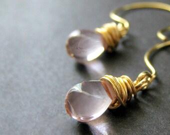 14K GOLD Wire Wrapped Earrings - Pale Pink Drop Earrings. Dangle Earrings. Handmade Jewelry.