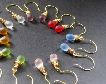 Seven Pair of Teardrop Earrings for the Price of Six - Wire Wrapped Clouded Glass Earrings in Gold. Handmade Jewelry.