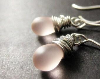 STERLING SILVER Earrings - Wire Wrapped Earrings - Soft Pink Frosted Teardrop Sterling Earrings. Handmade Jewelry.