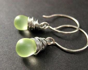 STERLING SILVER Earrings - Wire Wrapped Earrings - Clouded Lemon Lime Drop Earrings. Handmade Jewelry.