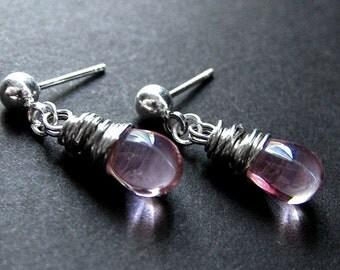 Drop Earrings : Wire Wrapped Clear Pink Teardrop Stud Earrings in Silver. Handmade Jewelry.