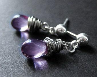 Drop Earrings in Purple - Silver Post Earrings with Wire Wrapped Clear Purple Teardrops. Handmade Jewelry.