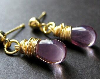 Purple Earrings: Gold Stud Earrings with Wire Wrapped Clear Purple Teardrops. Handmade Jewelry.