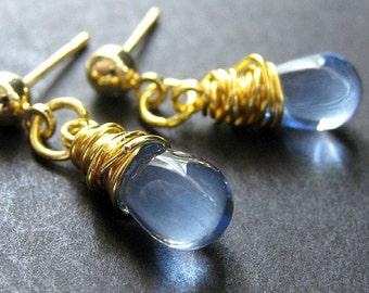 Drop Earrings in Blue - Gold Post Earrings with Wire Wrapped Clear Blue Teardrops. Handmade Jewelry.