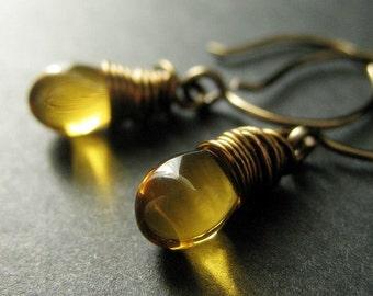 BRONZE Earrings - Amber Honey Drop Earrings, Wire Wrapped Earrings with Glass Teardrops. Handmade Jewelry.