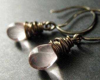 BRONZE Earrings - Light Pink Earrings in Glass, Wire Wrapped Drop Earrings. Dangle Earrings. Handmade Jewelry.