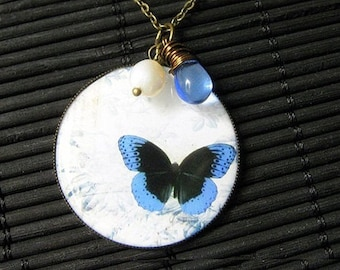 Blue Butterfly Necklace. Butterfly Pendant with Fresh Water Pearl and Blue Teardrop. Handmade Jewelry.