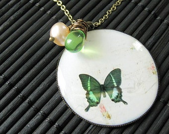 Green Butterfly Necklace. Butterfly Pendant with Fresh Water Pearl and Wire Wrapped Green Teardrop. Handmade Jewelry.
