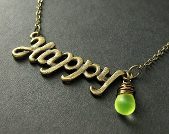Happy Necklace. Happy Pendant with Wire Wrapped Glass Teardrop. Charm Necklace. Bronze Necklace. Handmade Jewelry.