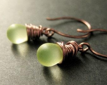 COPPER Earrings - Clouded Lemon Lime Drop Earrings, Wire Wrapped Dangle Earrings. Handmade Jewelry.