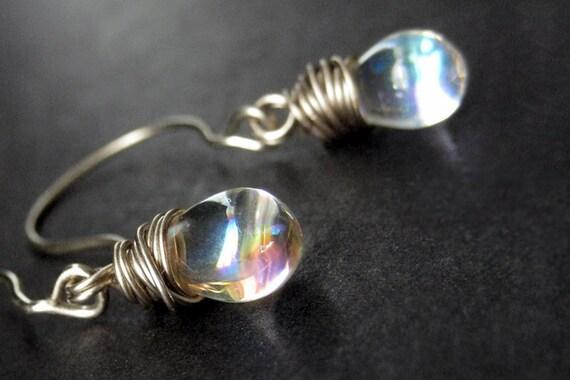 STERLING SILVER Wire Wrapped Earrings - Iridescent Clear Teardrop Sterling Earrings. Handmade Jewelry.