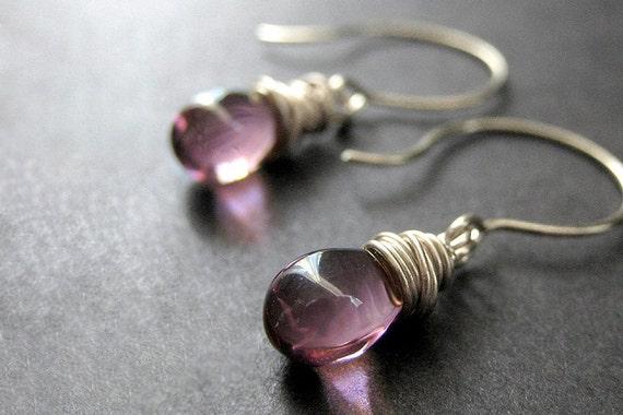 STERLING SILVER Earrings - Wire Wrapped Sterling Earrings - Amethyst Purple Clear Teardrop Earrings. Handmade Jewelry.