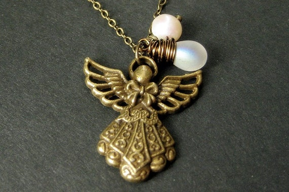 Angel Necklace. Bronze Angel Pendant with Iridescent Frosted Teardrop and Fresh Water Pearl. Handmade Jewelry.